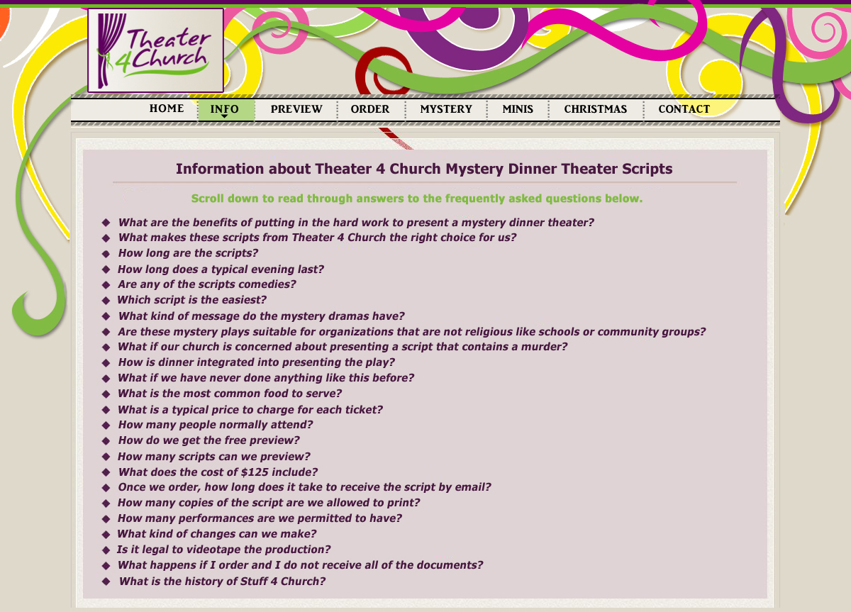 Questions Asked about Mystery Dinner Presentations